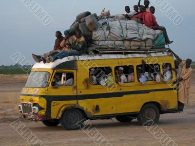 crowded bus in africa