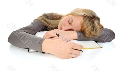 student fell asleep during studying