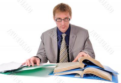 man read documents.