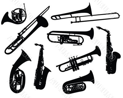 silhouettes of wind instruments