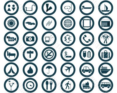 round travel icons set