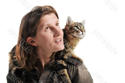 norwegian cat and woman