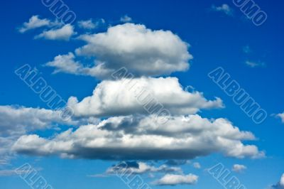 Beautiful azure cloudscape in Russia. Daylight.