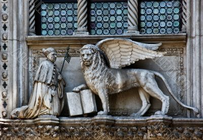The Venetian lion and Doge on a cathedral building on San Marco