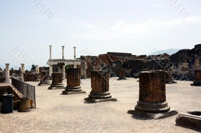 Ruins of Forum in Pompeii. Italy.