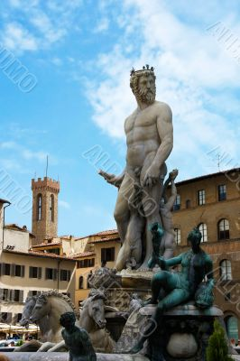 Fountain of the Neptune on the square before Palace Vecchio. Flo