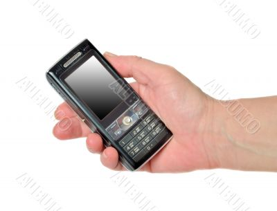 Hand with mobile phone