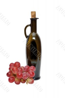 Bottle and grape bunch