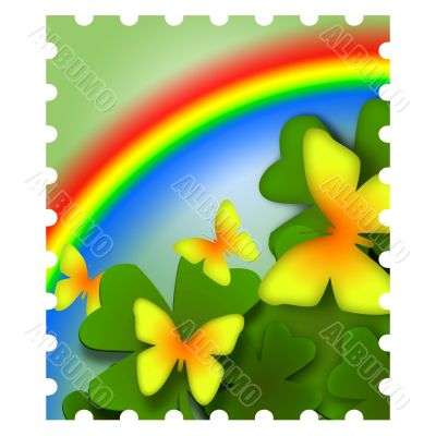 Spring Butterflies and Rainbow