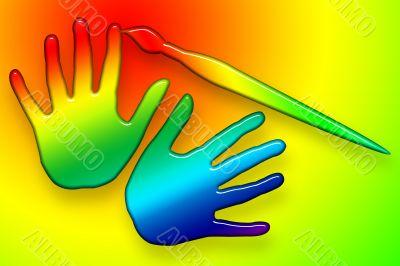 Paints Hands Over