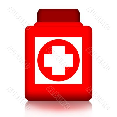 Jar of pills with medical cross