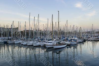 Parked sailboats