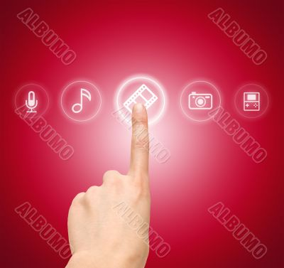 Hand choosing slide film symbol from media icons