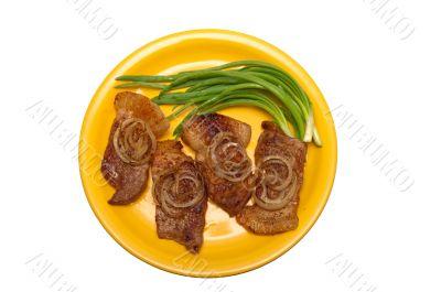 juicy steak with onions