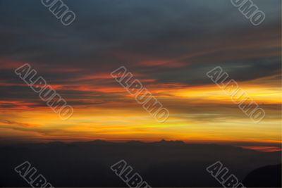Sunrise at the top of Adam's Peak