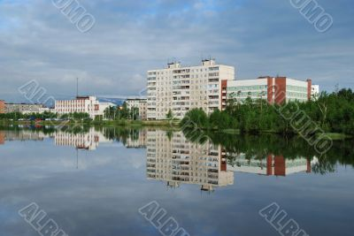 Reflection of city in lake