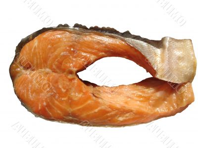 A piece of smoked trout. Isolated