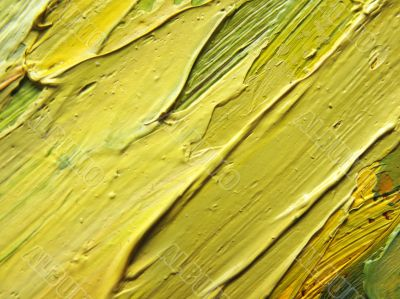 A fragment of the canvas with oil paints
