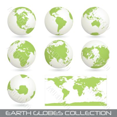 collection of earth globes, white-green