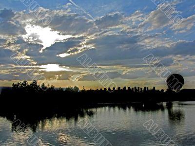 Balloon Silhouette Sunset