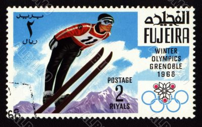 Postage stamp from Fujeira, Winter Olympic Games in Grenoble 1968