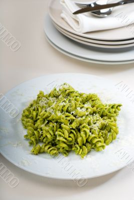 italian fusilli pasta and pesto