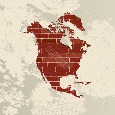 North America wall map
