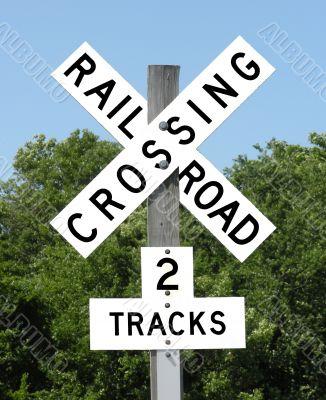 Railroad Crossing 2 tracks Sign