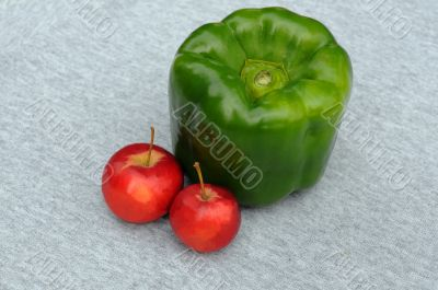 Huge Green Pepper And Red Apples