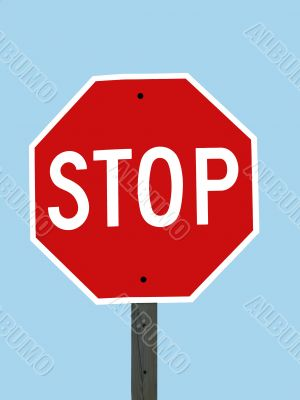 Stop Sign with Sky Blue Background