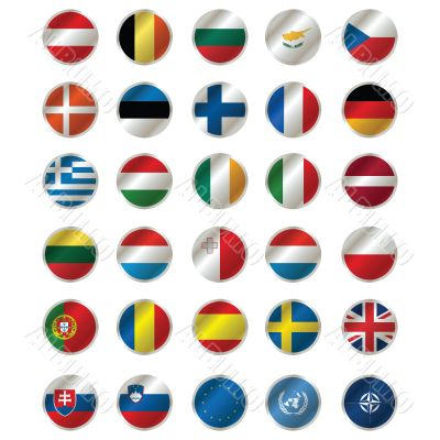 All Flags of The Member states of the EU , EU flag. UN and N.A.T