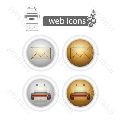 round web icons-print and mail