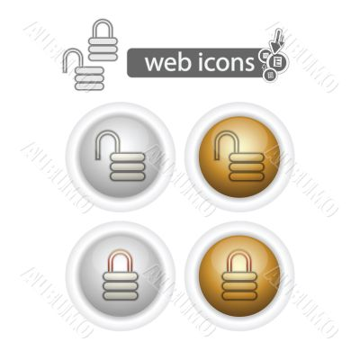 round web icons-lock and unlock