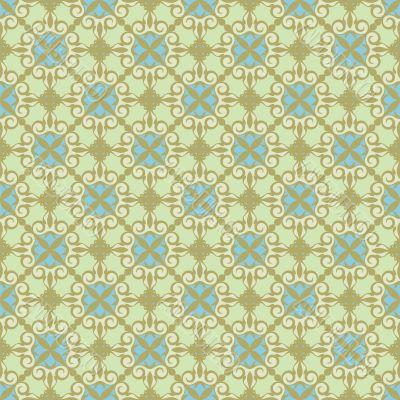 ornamental background , green - blue