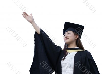 Happy asian lady graduate raise right arm