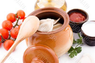 Dumplings with potato in pot