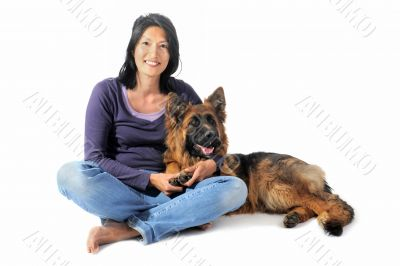german shepherd and chinese girl
