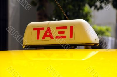 Taxi Sign in the Greek Language