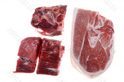Cutting pork isolated on white