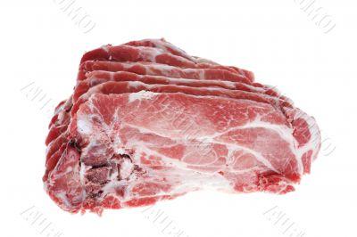 Cutting pork on white background