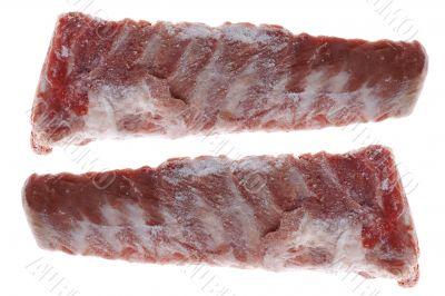 Frozen pork edge on white