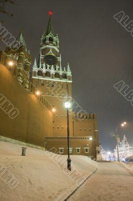 Kremlin Tower in winter night