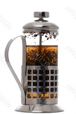 press coffee maker with tea on white