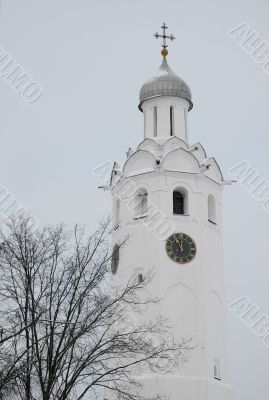 Ancient Clock Tower in Velikiy Novgorod in Russia
