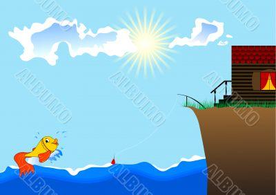 small fish, the sea and house ashore