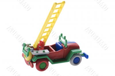 Toy Fire engine on white background
