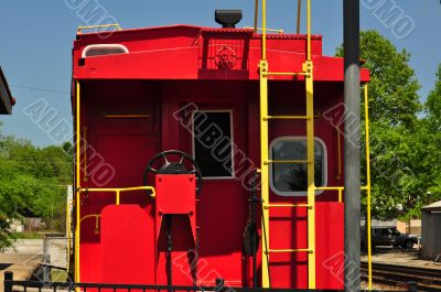 Vintage Era Red and yellow Caboose