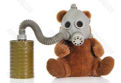 Soft toy bear with gas mask