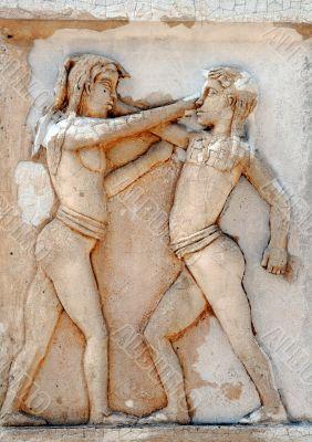 Figting Boys Bas-relief