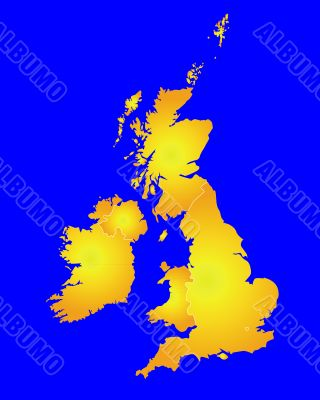 Map of Great Britain in gold color